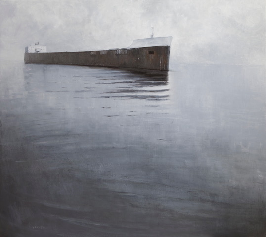 Oil painting of a Great Lakes freighter traveling toward the viewer. The gray waters of Lake Superior and sky almost mask the horizon line.